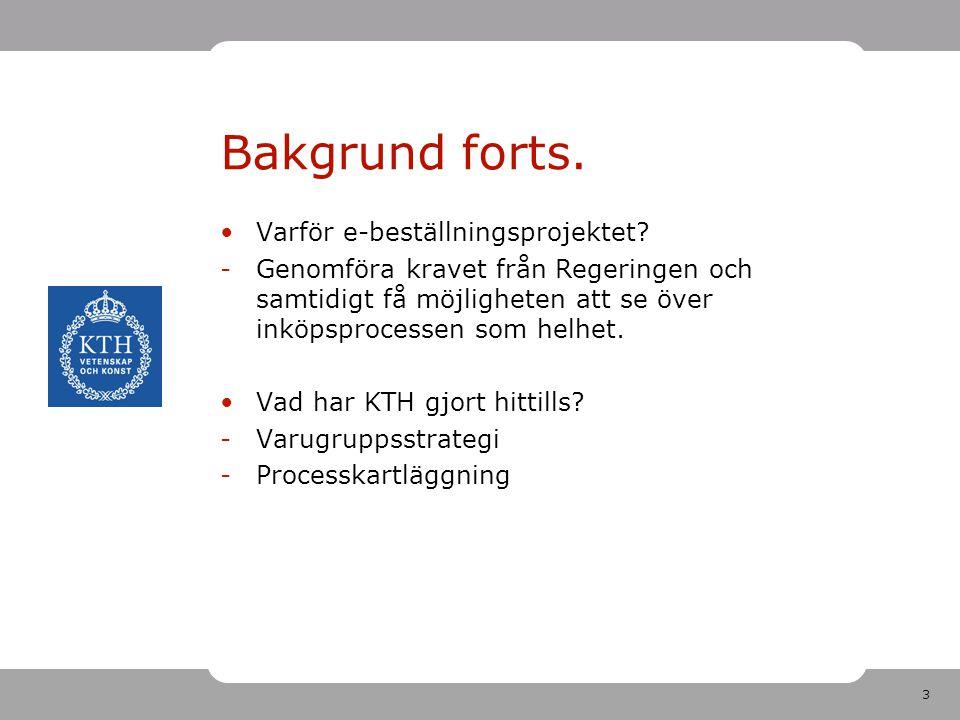3 Bakgrund forts.Varför e-beställningsprojektet.