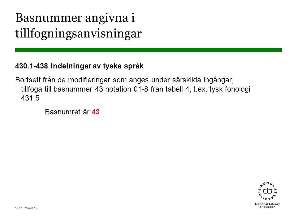 Sidnummer 19 Basnummer angivna i tillfogningsanvisningar 430.1-438 Indelningar av tyska språk Bortsett från de modifieringar som anges under särskilda