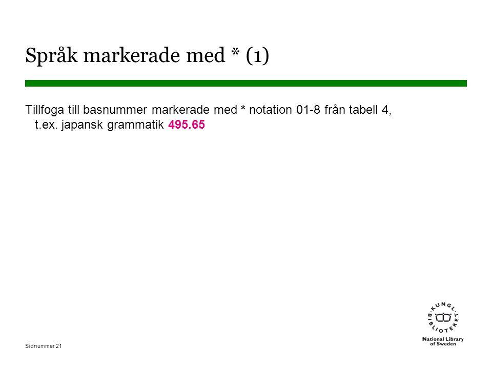 Sidnummer 21 Språk markerade med * (1) Tillfoga till basnummer markerade med * notation 01-8 från tabell 4, t.ex. japansk grammatik 495.65