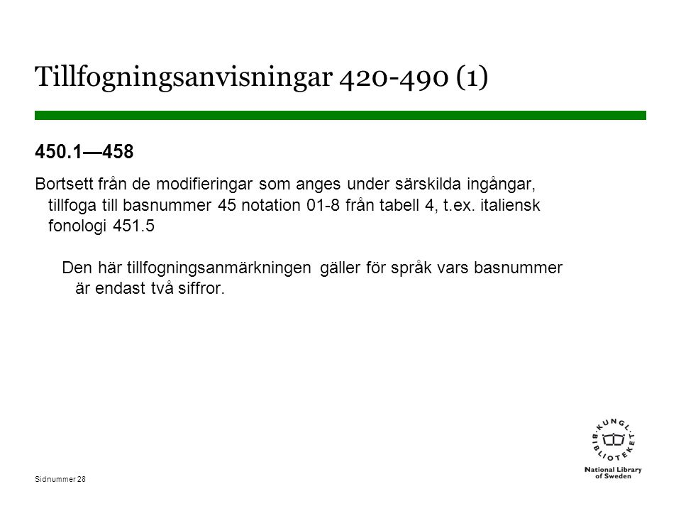 Sidnummer 28 Tillfogningsanvisningar 420-490 (1) 450.1—458 Bortsett från de modifieringar som anges under särskilda ingångar, tillfoga till basnummer