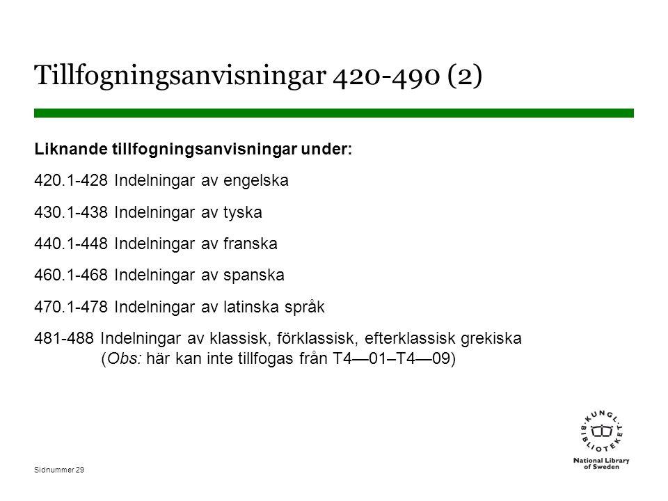 Sidnummer 29 Tillfogningsanvisningar 420-490 (2) Liknande tillfogningsanvisningar under: 420.1-428 Indelningar av engelska 430.1-438 Indelningar av ty