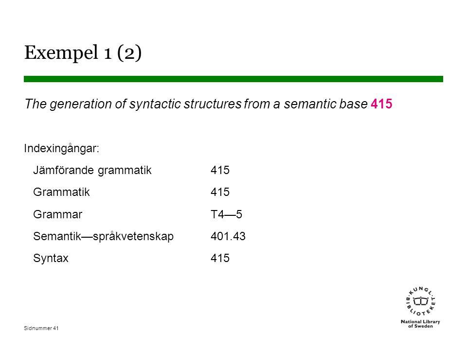 Sidnummer 41 Exempel 1 (2) The generation of syntactic structures from a semantic base 415 Indexingångar: Jämförande grammatik415 Grammatik415 Grammar