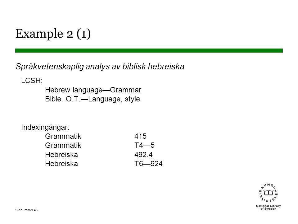 Sidnummer 43 Example 2 (1) Språkvetenskaplig analys av biblisk hebreiska LCSH: Hebrew language—Grammar Bible. O.T.—Language, style Indexingångar: Gram