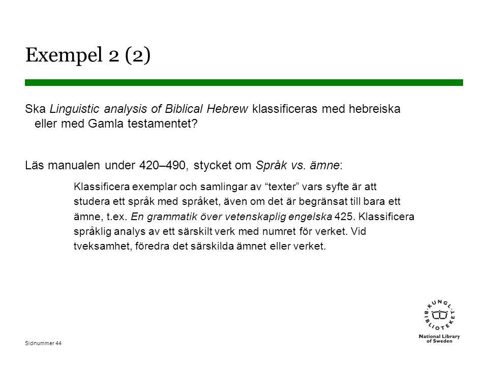 Sidnummer 44 Exempel 2 (2) Ska Linguistic analysis of Biblical Hebrew klassificeras med hebreiska eller med Gamla testamentet? Läs manualen under 420–