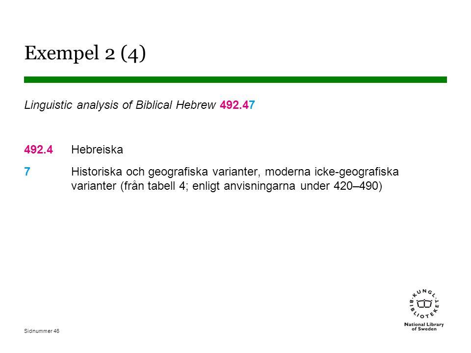 Sidnummer 46 Exempel 2 (4) Linguistic analysis of Biblical Hebrew 492.47 492.4Hebreiska 7Historiska och geografiska varianter, moderna icke-geografisk