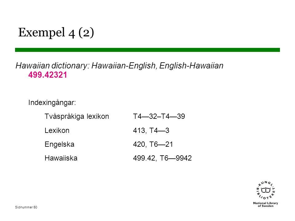 Sidnummer 50 Exempel 4 (2) Hawaiian dictionary: Hawaiian-English, English-Hawaiian 499.42321 Indexingångar: Tvåspråkiga lexikonT4—32–T4—39 Lexikon413,