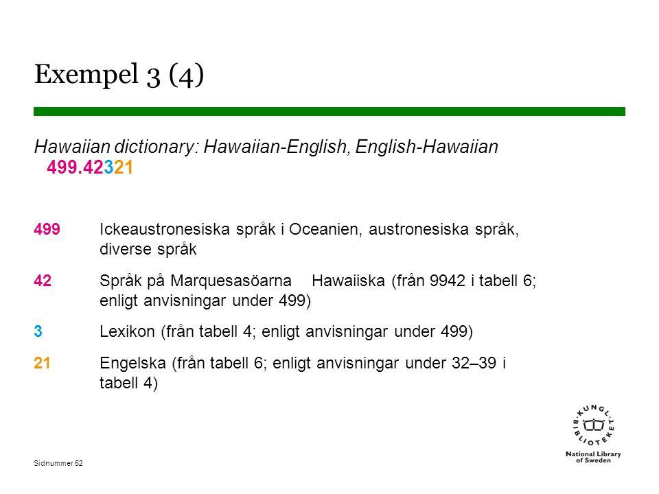 Sidnummer 52 Exempel 3 (4) Hawaiian dictionary: Hawaiian-English, English-Hawaiian 499.42321 499Ickeaustronesiska språk i Oceanien, austronesiska språ