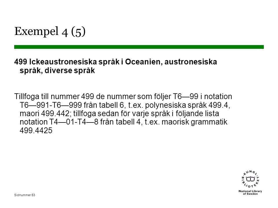 Sidnummer 53 Exempel 4 (5) 499 Ickeaustronesiska språk i Oceanien, austronesiska språk, diverse språk Tillfoga till nummer 499 de nummer som följer T6