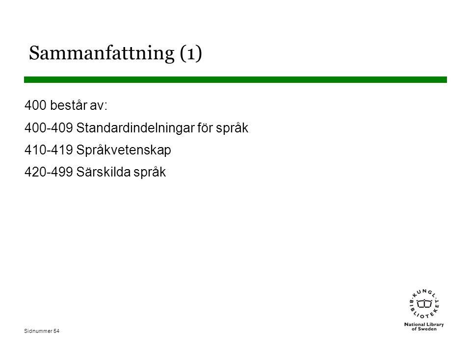 Sidnummer 54 Sammanfattning (1) 400 består av: 400-409 Standardindelningar för språk 410-419 Språkvetenskap 420-499 Särskilda språk