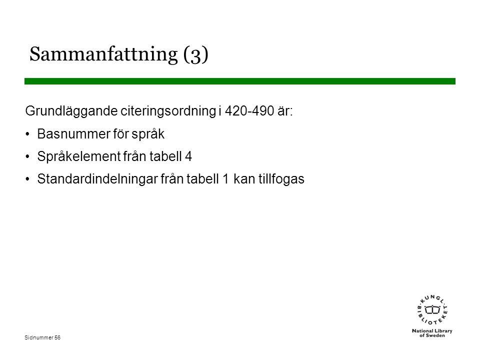 Sidnummer 56 Sammanfattning (3) Grundläggande citeringsordning i 420-490 är: Basnummer för språk Språkelement från tabell 4 Standardindelningar från t