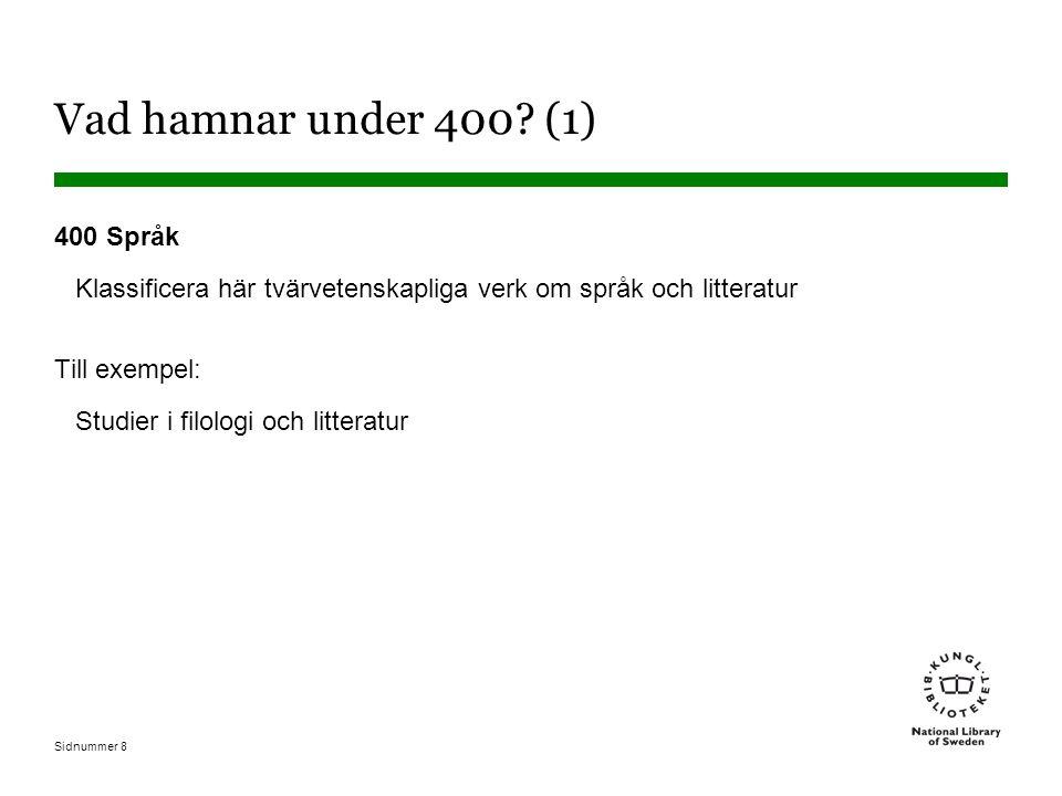 Sidnummer 8 Vad hamnar under 400? (1) 400 Språk Klassificera här tvärvetenskapliga verk om språk och litteratur Till exempel: Studier i filologi och l