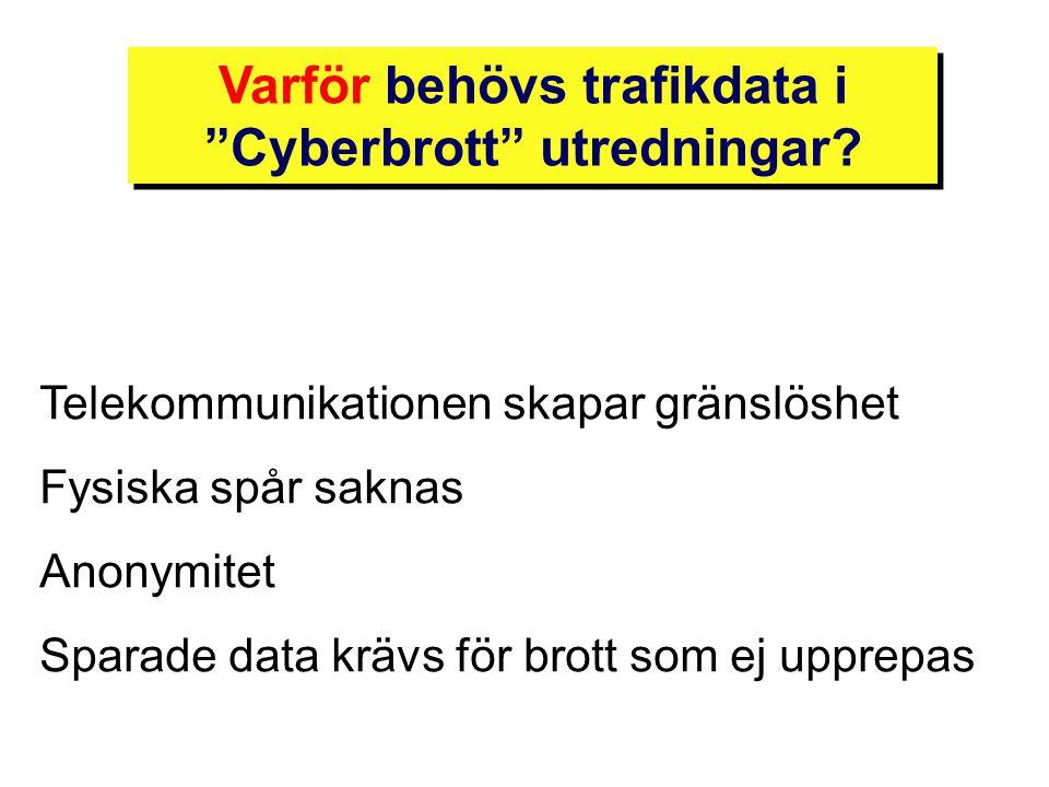 """Telekommunikationen skapar gränslöshet Fysiska spår saknas Anonymitet Sparade data krävs för brott som ej upprepas Varför behövs trafikdata i """"Cyberbr"""