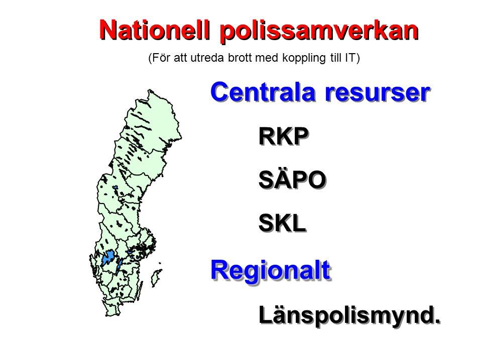 Centrala resurser RKP SÄPO SKLRegionalt Länspolismynd. Centrala resurser RKP SÄPO SKLRegionalt Länspolismynd. Nationell polissamverkan (För att utreda