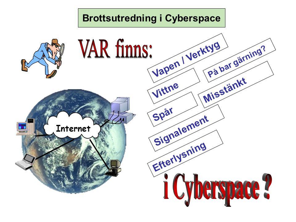 Signalement Efterlysning Spår Vittne Vapen / Verktyg Misstänkt På bar gärning? () Brottsutredning i Cyberspace Internet