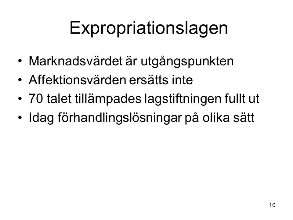 10 Expropriationslagen Marknadsvärdet är utgångspunkten Affektionsvärden ersätts inte 70 talet tillämpades lagstiftningen fullt ut Idag förhandlingslö