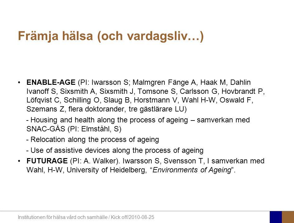 Institutionen för hälsa vård och samhälle / Kick off/2010-08-25 Att undersöka effekterna av en intervention med närsjuksköterskor till äldre med upprepade vårdkontakter och nedsatt funktionsförmåga med avseende på livskvalitet, funktionsförmåga, vårdkonsumtion, hälsoekonomi och upplevelser av vård Gäster på Ellys 80-års dag 2003 (Foto: Bengt Ekwall) Syfte