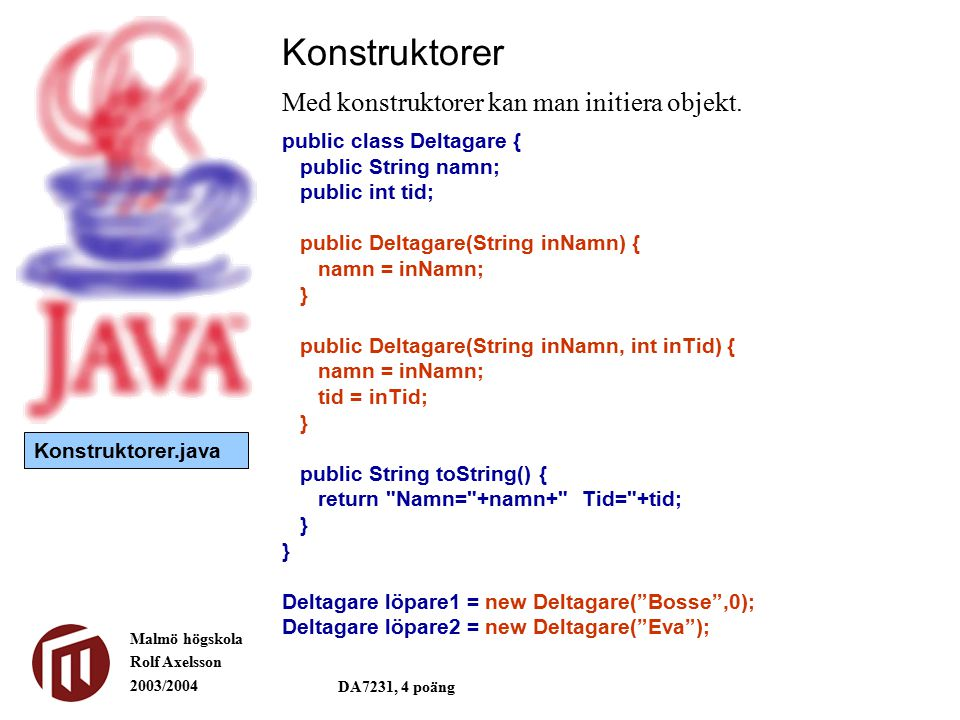 Malmö högskola Rolf Axelsson 2003/2004 DA7231, 4 poäng Konstruktorer Med konstruktorer kan man initiera objekt. public class Deltagare { public String