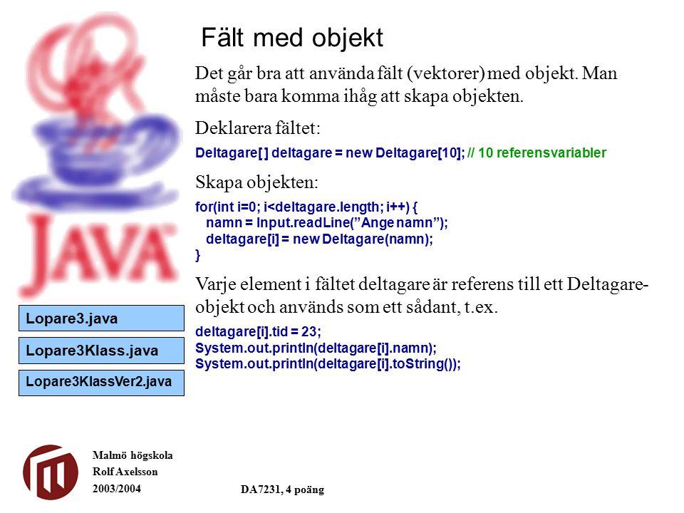 Malmö högskola Rolf Axelsson 2003/2004 DA7231, 4 poäng Fält med objekt Det går bra att använda fält (vektorer) med objekt.