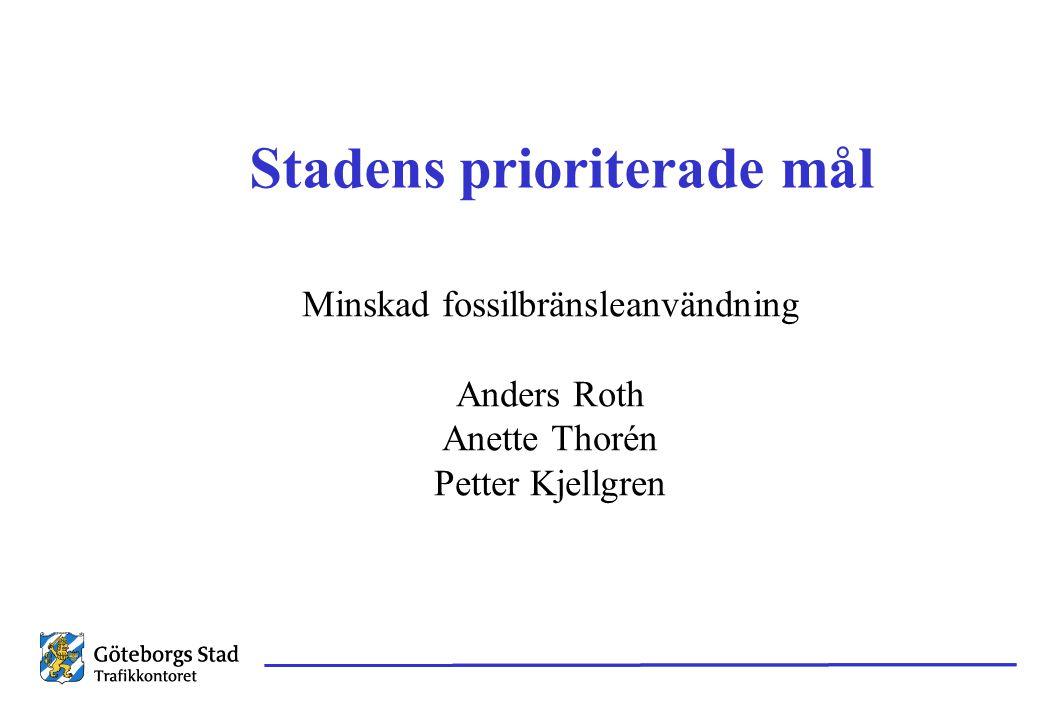 Stadens prioriterade mål Minskad fossilbränsleanvändning Anders Roth Anette Thorén Petter Kjellgren