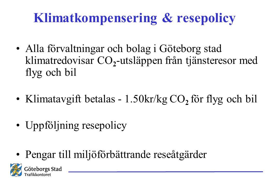 Klimatkompensering & resepolicy Alla förvaltningar och bolag i Göteborg stad klimatredovisar CO 2 -utsläppen från tjänsteresor med flyg och bil Klimatavgift betalas - 1.50kr/kg CO 2 för flyg och bil Uppföljning resepolicy Pengar till miljöförbättrande reseåtgärder