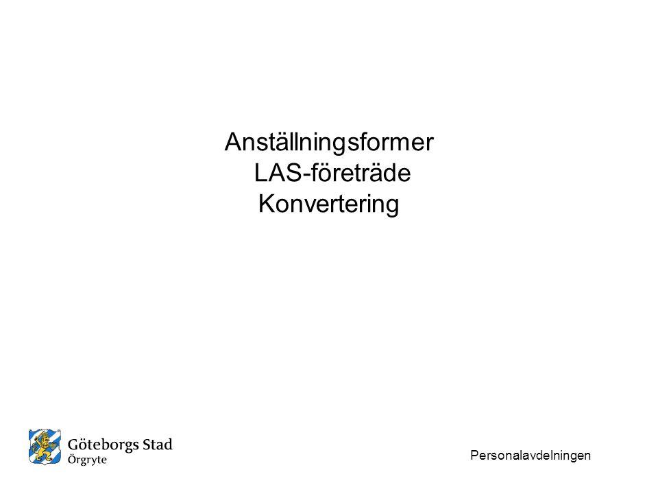 Anställningsformer LAS-företräde Konvertering Personalavdelningen