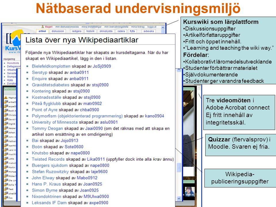 """Kurswiki som lärplattform Diskussionsuppgifter Artikelförfattaruppgifter Fritt och öppet innehåll. """"Learning and teaching the wiki way."""" Fördelar: Kol"""