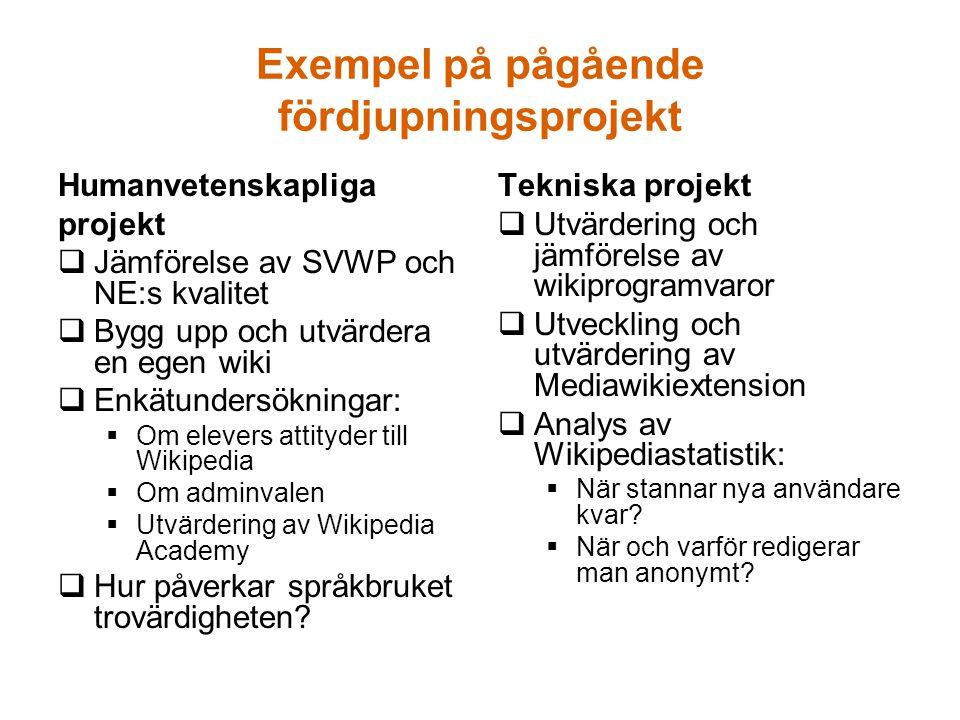 Exempel på pågående fördjupningsprojekt Humanvetenskapliga projekt  Jämförelse av SVWP och NE:s kvalitet  Bygg upp och utvärdera en egen wiki  Enkä