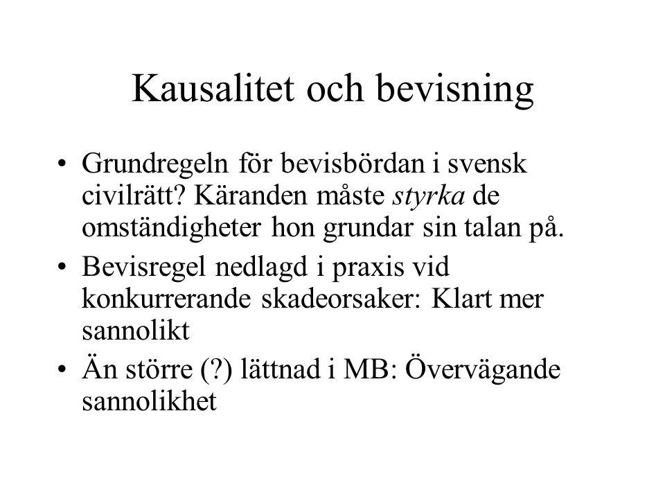 Kausalitet och bevisning Grundregeln för bevisbördan i svensk civilrätt.