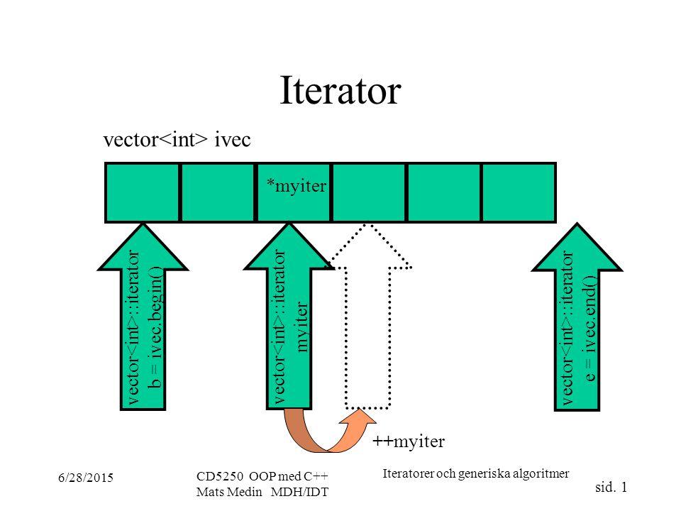 Iteratorer och generiska algoritmer sid.
