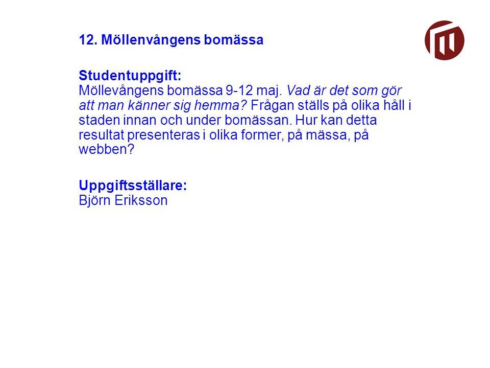 12. Möllenvångens bomässa Studentuppgift: Möllevångens bomässa 9-12 maj.