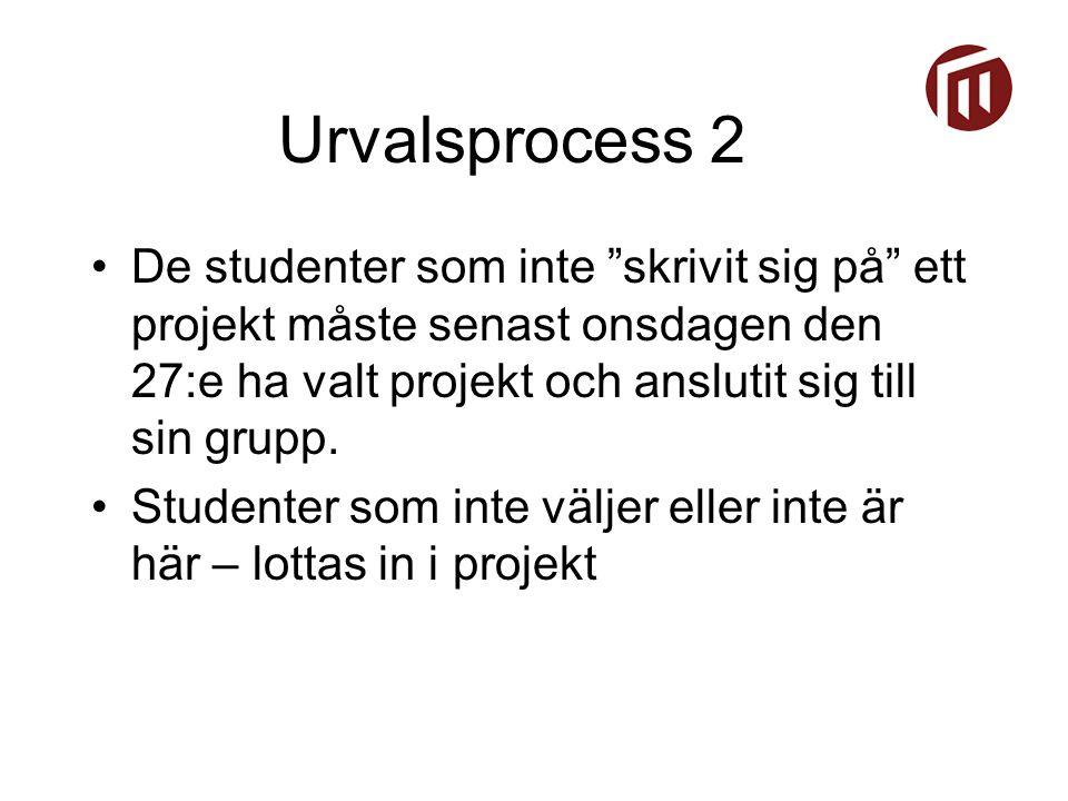 Urvalsprocess 2 De studenter som inte skrivit sig på ett projekt måste senast onsdagen den 27:e ha valt projekt och anslutit sig till sin grupp.