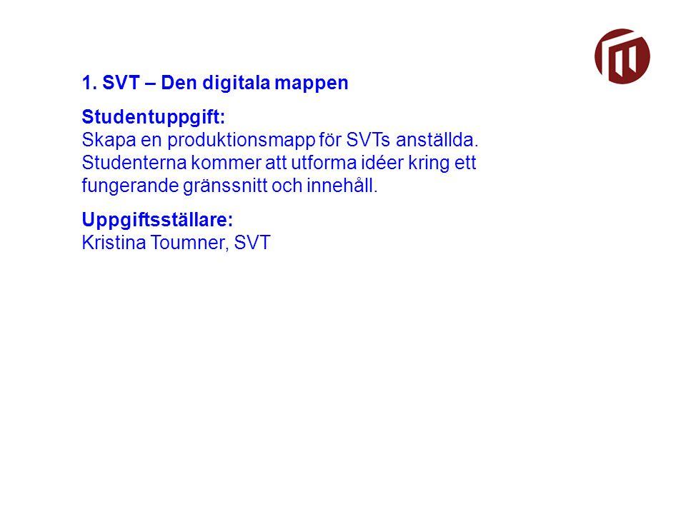 1. SVT – Den digitala mappen Studentuppgift: Skapa en produktionsmapp för SVTs anställda.