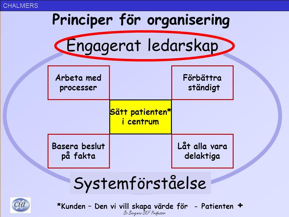 Utgångspunkter Principer för organisering – Patientfokus, ständig förbättring, …