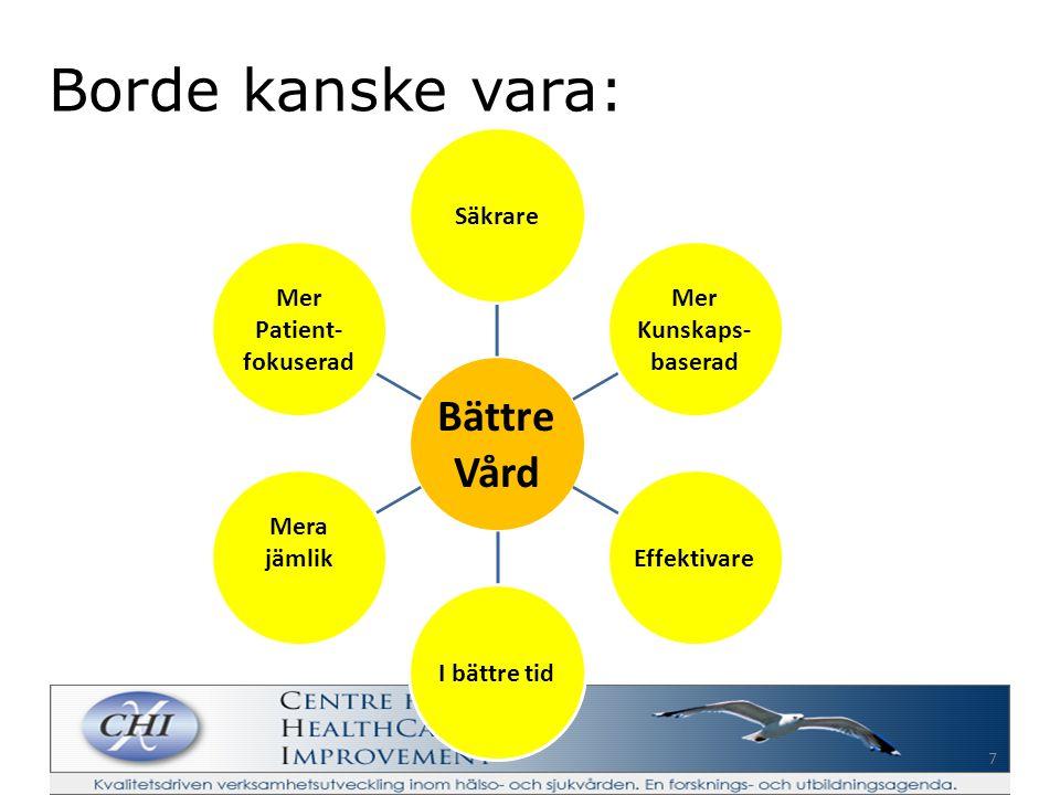 6 Övergripande kvalitetsmål God Vård Säker Kunskaps- baserad Effektiv I rimlig tid Jämlik Patient- fokuserad