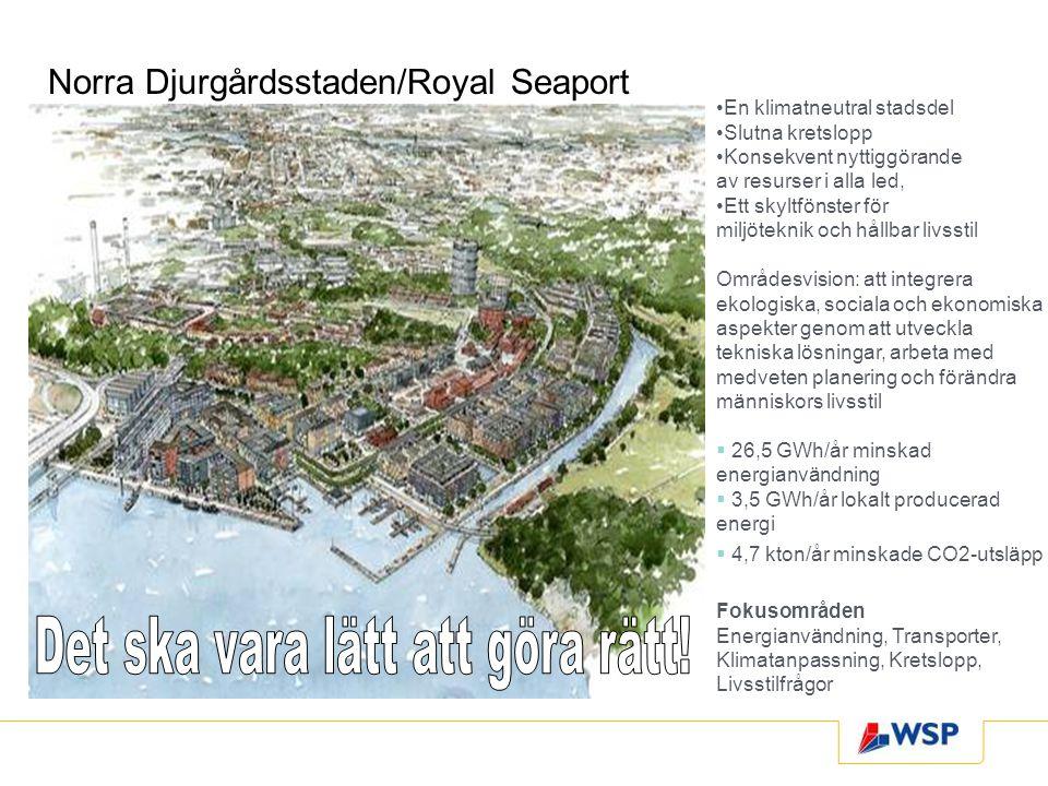 Norra Djurgårdsstaden/Royal Seaport En klimatneutral stadsdel Slutna kretslopp Konsekvent nyttiggörande av resurser i alla led, Ett skyltfönster för m