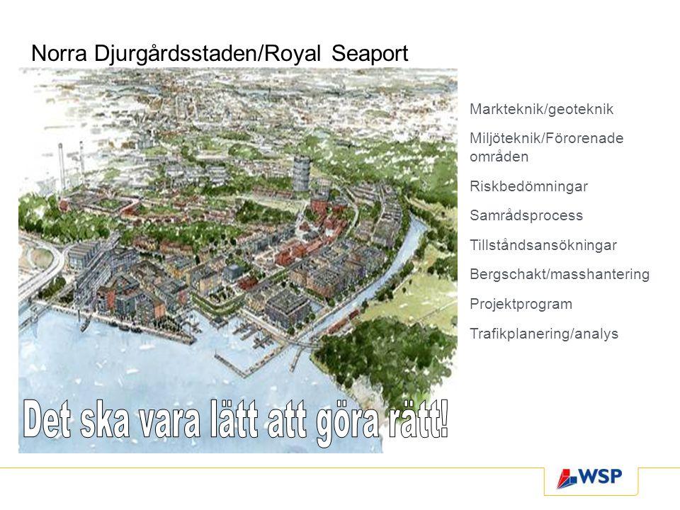 Norra Djurgårdsstaden/Royal Seaport Markteknik/geoteknik Miljöteknik/Förorenade områden Riskbedömningar Samrådsprocess Tillståndsansökningar Bergschak