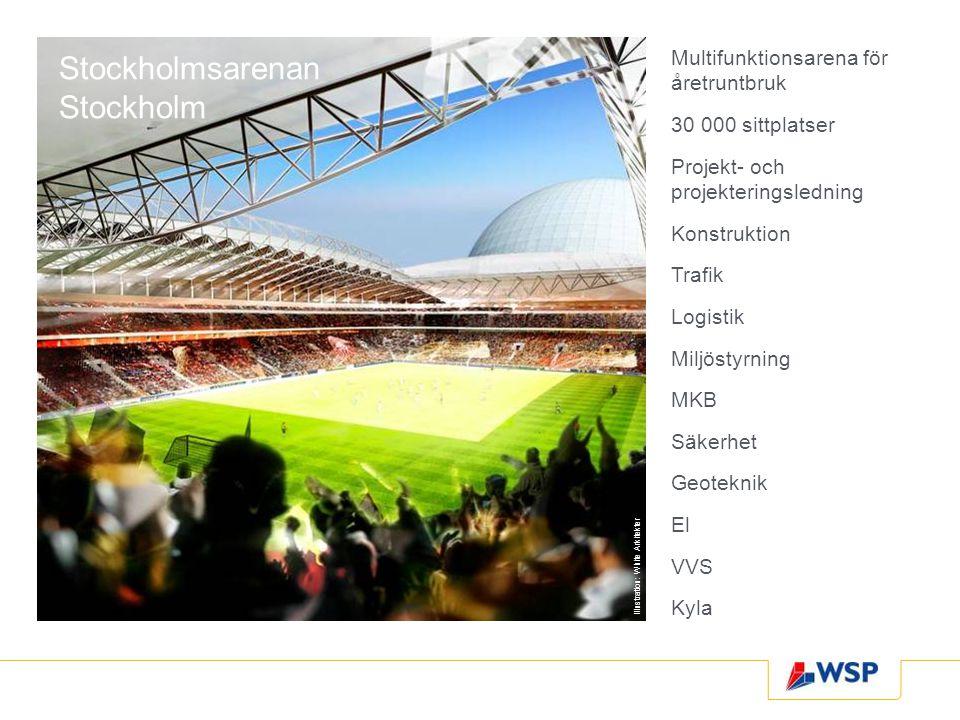 Stockholmsarenan Stockholm Multifunktionsarena för åretruntbruk 30 000 sittplatser Projekt- och projekteringsledning Konstruktion Trafik Logistik Milj