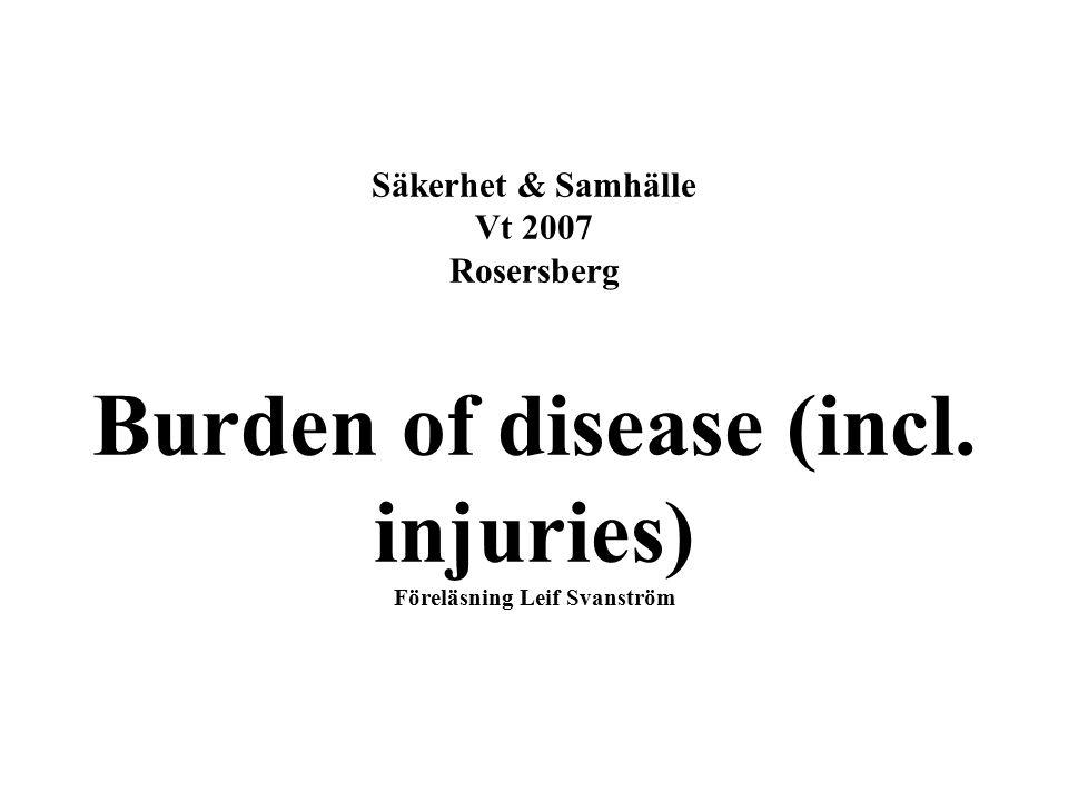 Säkerhet & Samhälle Vt 2007 Rosersberg Burden of disease (incl. injuries) Föreläsning Leif Svanström
