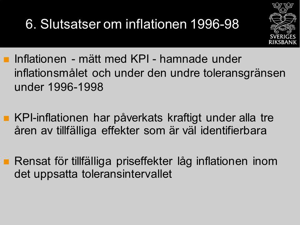 6. Slutsatser om inflationen 1996-98 Inflationen - mätt med KPI - hamnade under inflationsmålet och under den undre toleransgränsen under 1996-1998 KP