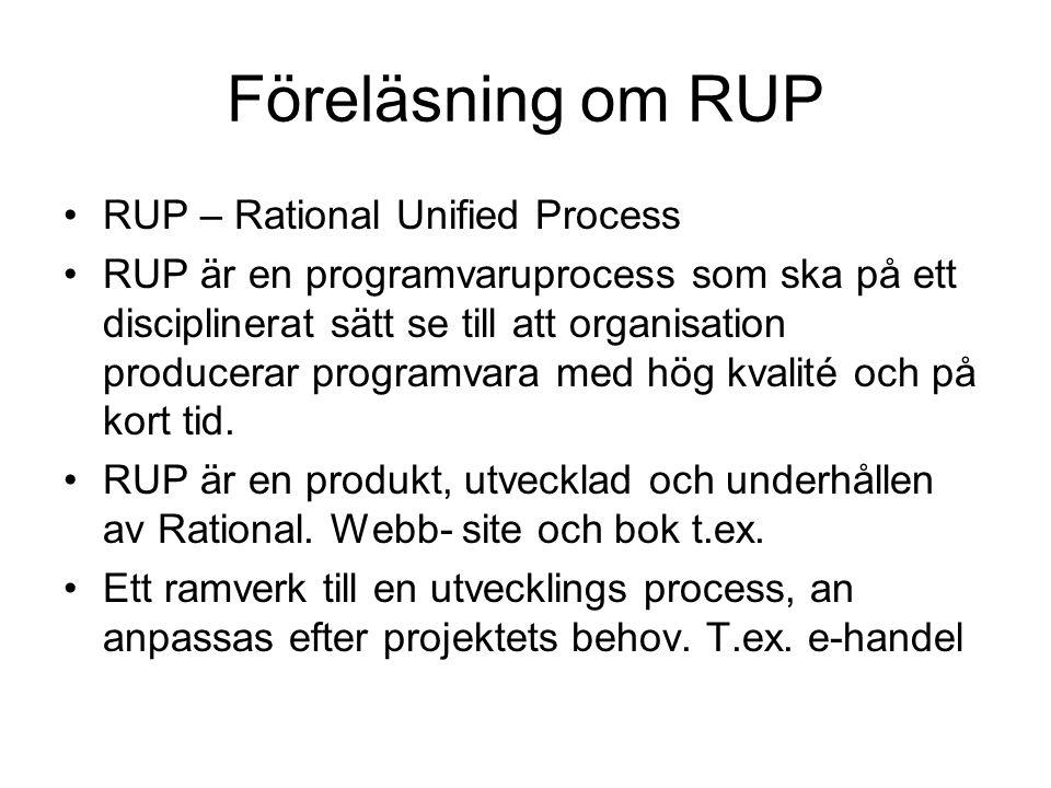 Föreläsning om RUP RUP – Rational Unified Process RUP är en programvaruprocess som ska på ett disciplinerat sätt se till att organisation producerar p