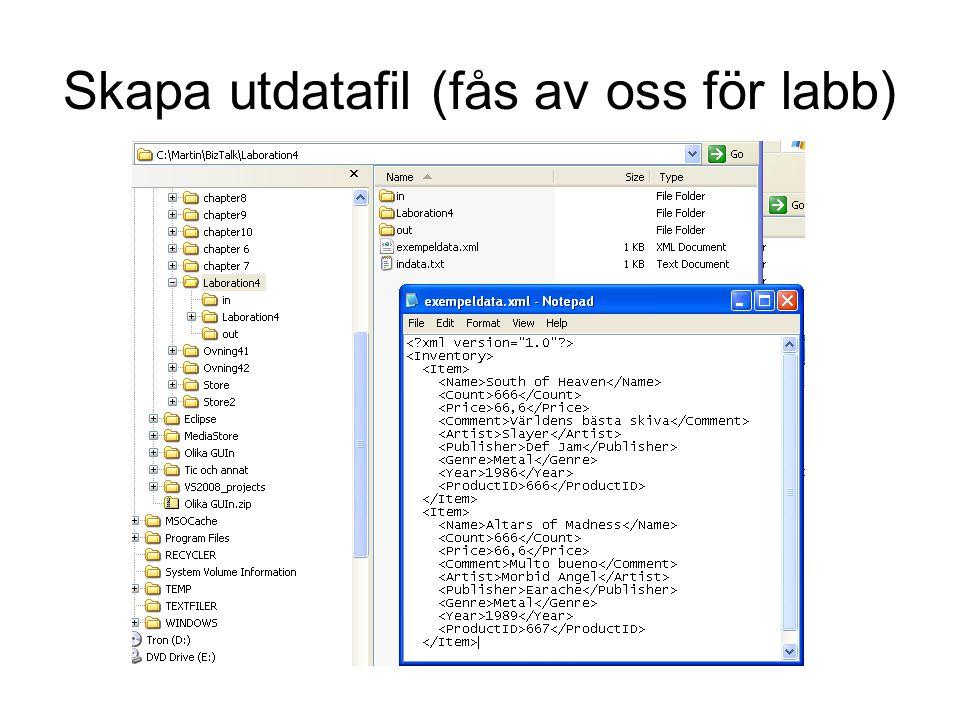 Skapa utdatafil (fås av oss för labb)