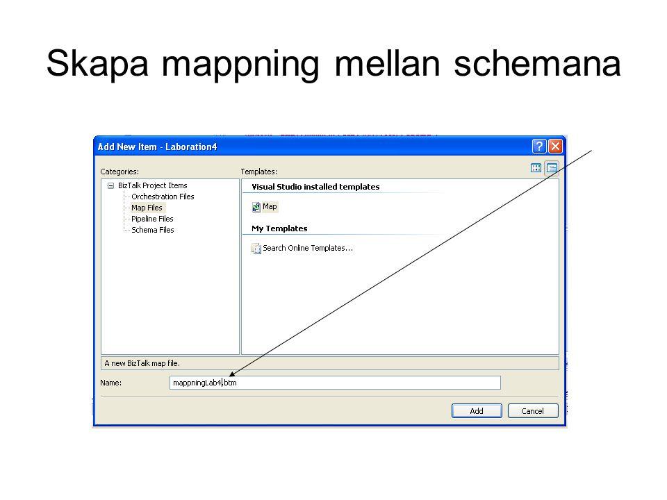 Skapa mappning mellan schemana