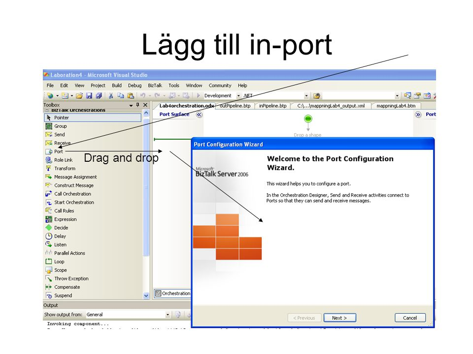 Lägg till in-port Drag and drop