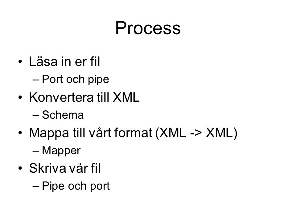 Process Läsa in er fil –Port och pipe Konvertera till XML –Schema Mappa till vårt format (XML -> XML) –Mapper Skriva vår fil –Pipe och port