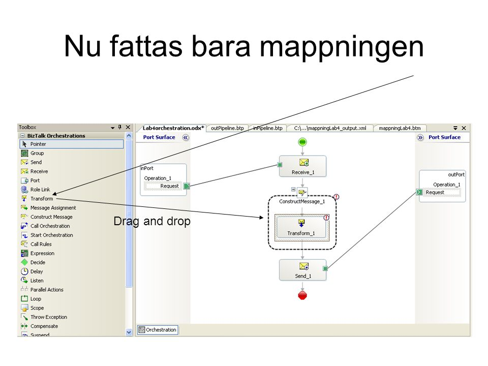 Nu fattas bara mappningen Drag and drop