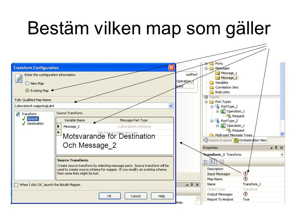 Bestäm vilken map som gäller Motsvarande för Destination Och Message_2