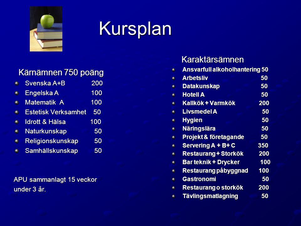 Kursplan Kärnämnen 750 poäng Kärnämnen 750 poäng Svenska A+B 200 Engelska A 100 Matematik A 100 Estetisk Verksamhet 50 Idrott & Hälsa 100 Naturkunskap 50 Religionskunskap 50 Samhällskunskap 50 APU sammanlagt 15 veckor under 3 år.