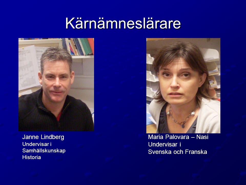 Kärnämneslärare Janne Lindberg Undervisar i Samhällskunskap Historia Maria Palovara – Nasi Undervisar i Svenska och Franska