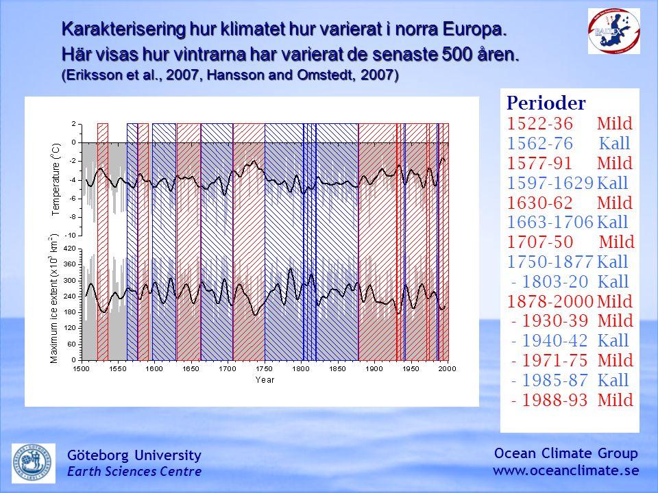 Perioder 1522-36 Mild 1562-76 Kall 1577-91 Mild 1597-1629 Kall 1630-62 Mild 1663-1706 Kall 1707-50 Mild 1750-1877 Kall - 1803-20 Kall 1878-2000 Mild - 1930-39 Mild - 1940-42 Kall - 1971-75 Mild - 1985-87 Kall - 1988-93 Mild Karakterisering hur klimatet hur varierat i norra Europa.