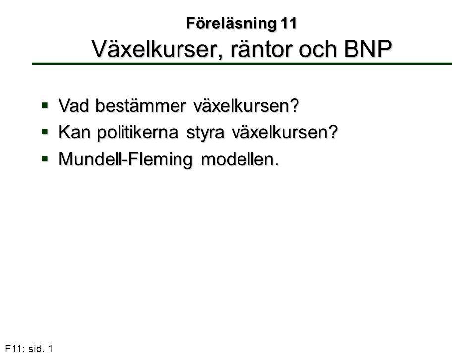 F11: sid. 1 Föreläsning 11 Växelkurser, räntor och BNP  Vad bestämmer växelkursen?  Kan politikerna styra växelkursen?  Mundell-Fleming modellen.